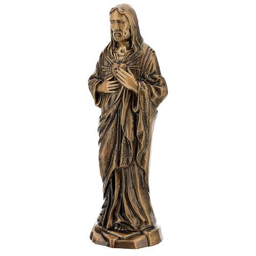 Estatua bronce Jesús Sagrado Corazón 40 cm para EXTERIOR 3