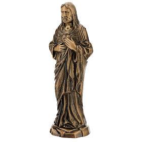 Statua bronzo Gesù Sacro Cuore 40 cm per ESTERNO s3