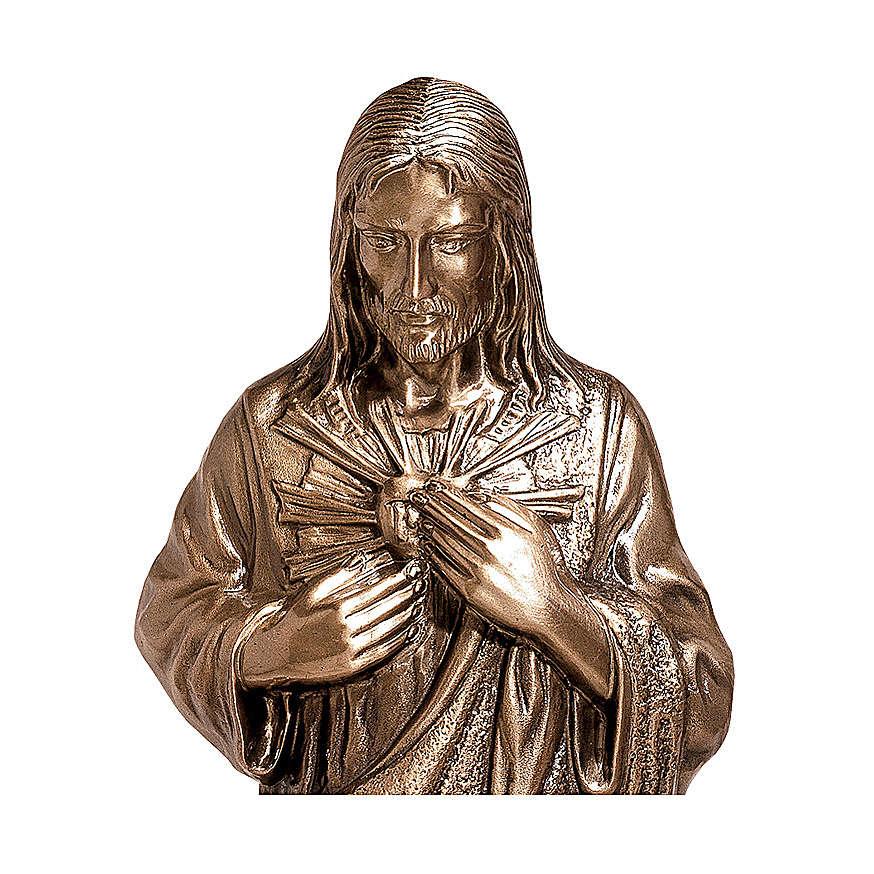 Imagem bronze Sagrado Coração de Jesus 40 cm para EXTERIOR 4