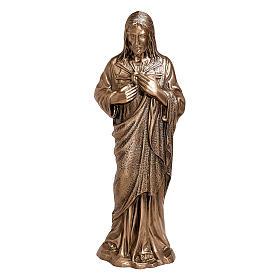 Imagem bronze Sagrado Coração de Jesus 40 cm para EXTERIOR s1