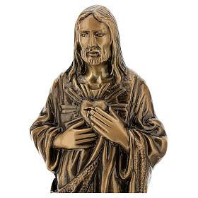 Imagem bronze Sagrado Coração de Jesus 40 cm para EXTERIOR