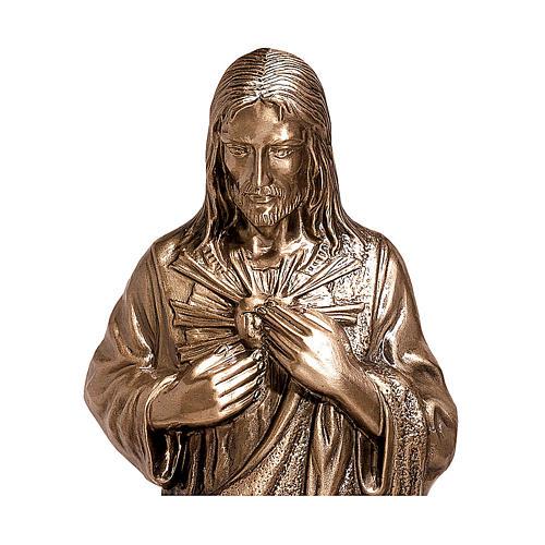 Imagem bronze Sagrado Coração de Jesus 40 cm para EXTERIOR 2