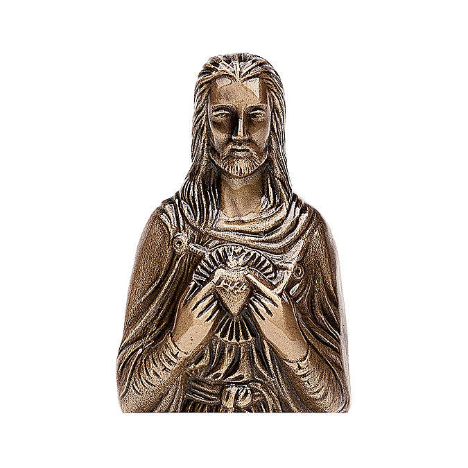 Funerary statue of the Sacred Heart of Jesus in bronze 30 cm for EXTERNAL USE 4