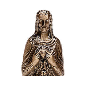 Funerary statue of the Sacred Heart of Jesus in bronze 30 cm for EXTERNAL USE s2