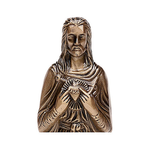 Funerary statue of the Sacred Heart of Jesus in bronze 30 cm for EXTERNAL USE 2