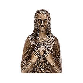 Estatua funeraria Sagrado Corazón de Jesús bronce 30 cm para EXTERIOR s2