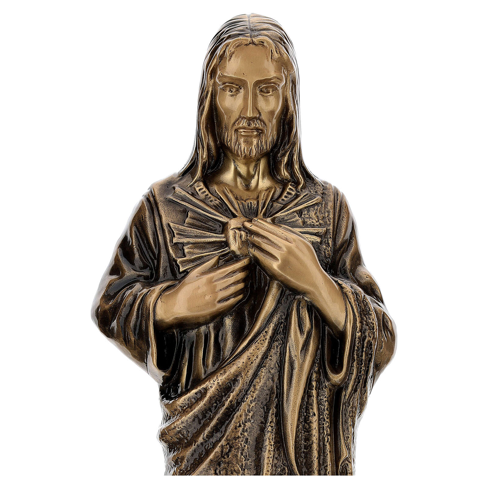 Estatua devocional Sagrado Corazón de Jesús bronce 60 cm para EXTERIOR 4