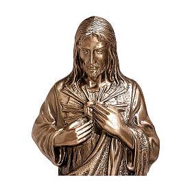 Estatua devocional Sagrado Corazón de Jesús bronce 60 cm para EXTERIOR s2