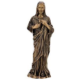 Estatua devocional Sagrado Corazón de Jesús bronce 60 cm para EXTERIOR s1