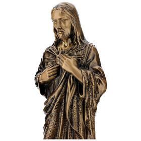 Estatua devocional Sagrado Corazón de Jesús bronce 60 cm para EXTERIOR s4