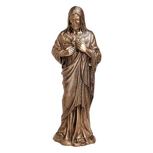 Estatua devocional Sagrado Corazón de Jesús bronce 60 cm para EXTERIOR 1