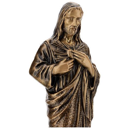 Estatua devocional Sagrado Corazón de Jesús bronce 60 cm para EXTERIOR 6