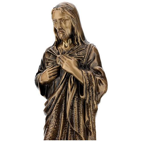 Statua devozionale Sacro Cuore di Gesù bronzo 60 cm per ESTERNO 4