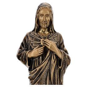 Imagem devocional Sagrado Coração Jesus bronze 60 cm para EXTERIOR