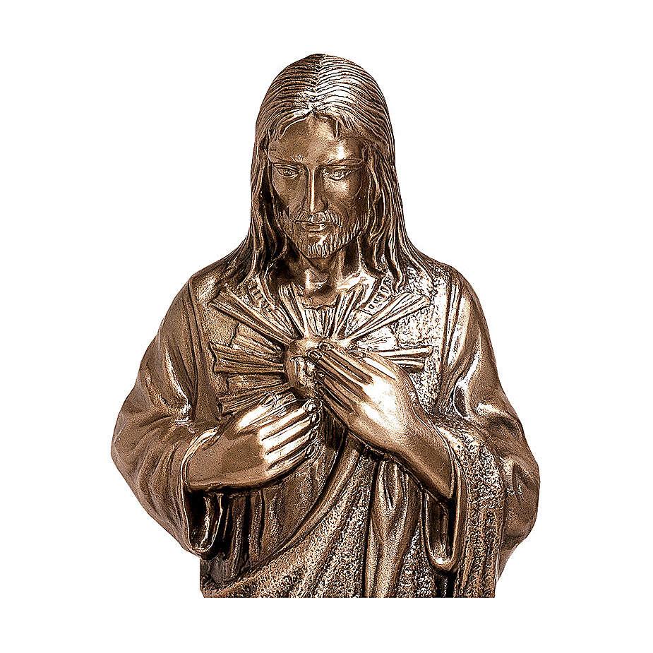 Statua Cuore divino di Gesù bronzo 80 cm per ESTERNO 4