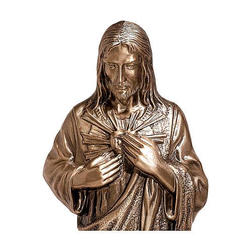 Statua Cuore divino di Gesù bronzo 80 cm per ESTERNO 2