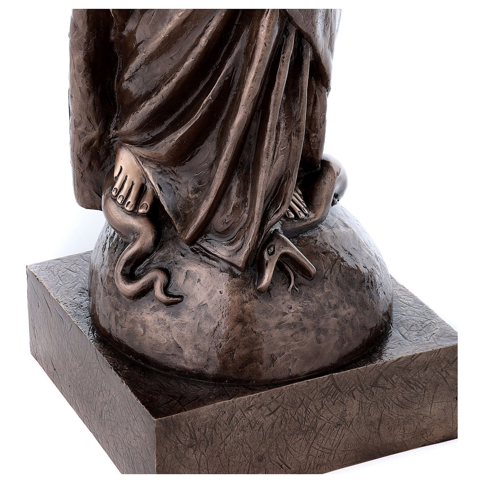 Statua devozionale Maria Vergine bronzo 110 cm per ESTERNO 4