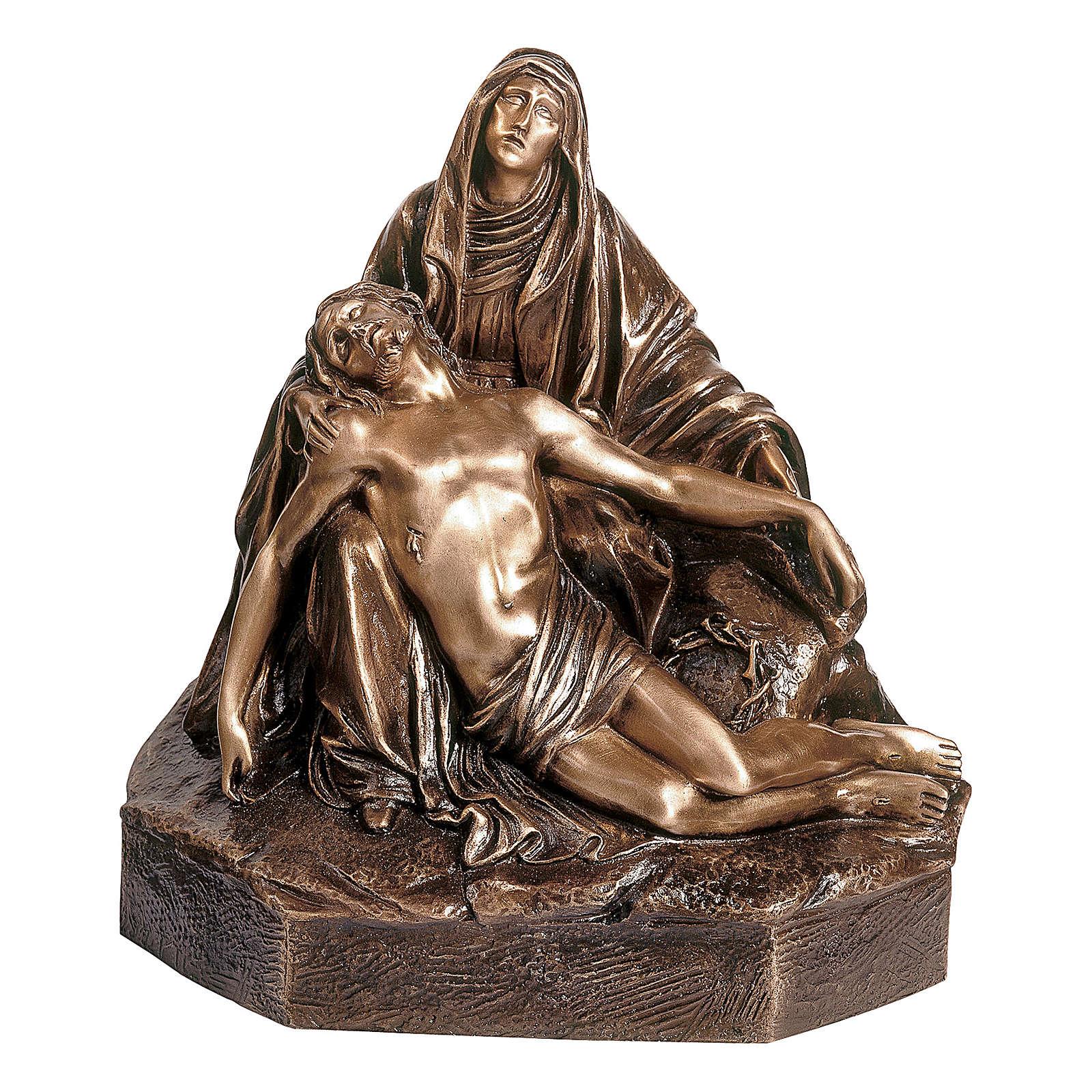 Statua in bronzo Pietà 45 cm per ESTERNO 4