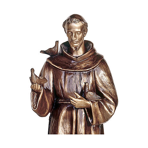 Statue of St Francis of Assisi in bronze 110 cm for EXTERNAL USE 2