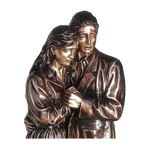 Statua in bronzo coppia addolorata 170 cm per ESTERNO 2