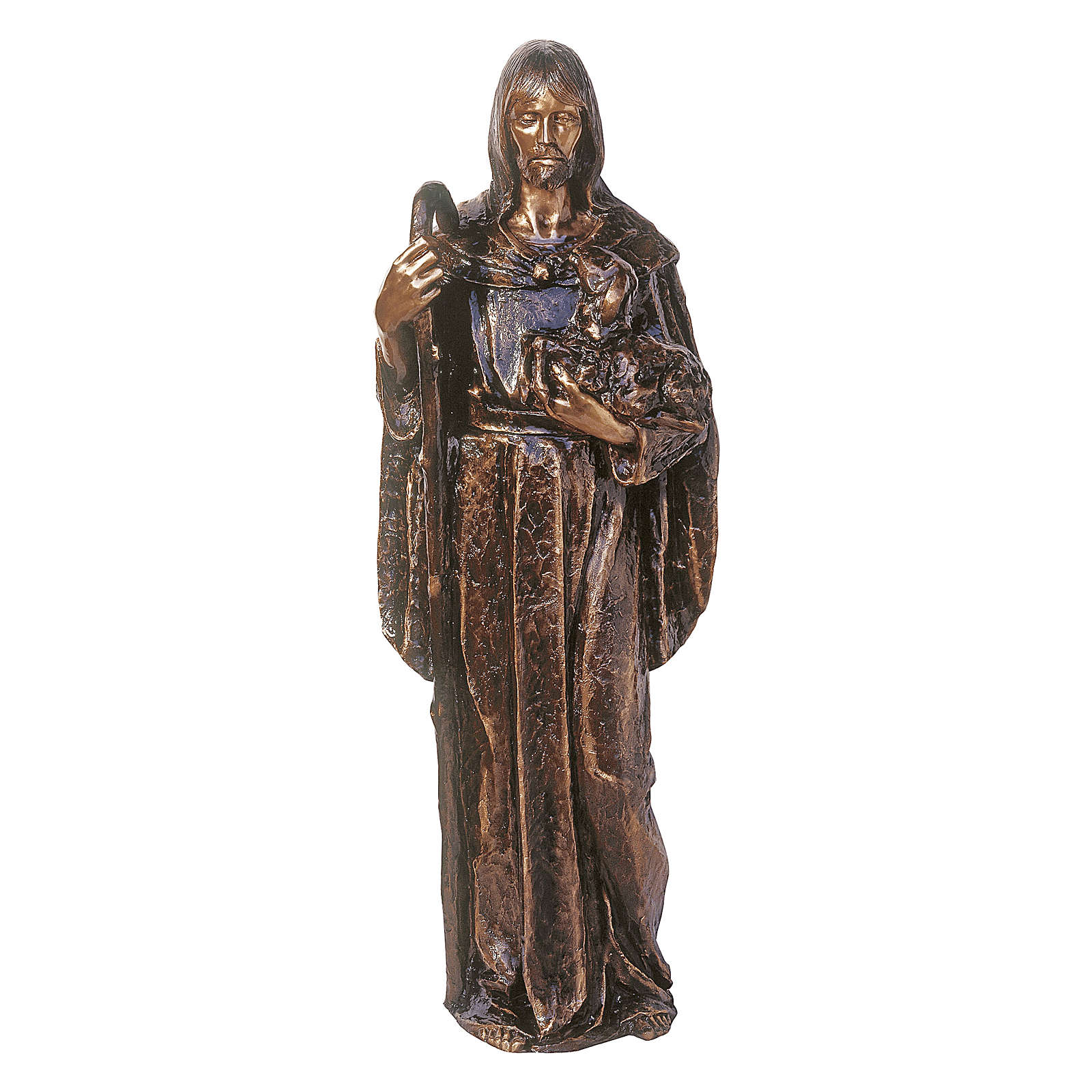 Statue of Jesus the Good Shepherd in bronze 130 cm for EXTERNAL USE 4