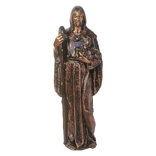 Statue of Jesus the Good Shepherd in bronze 130 cm for EXTERNAL USE 1