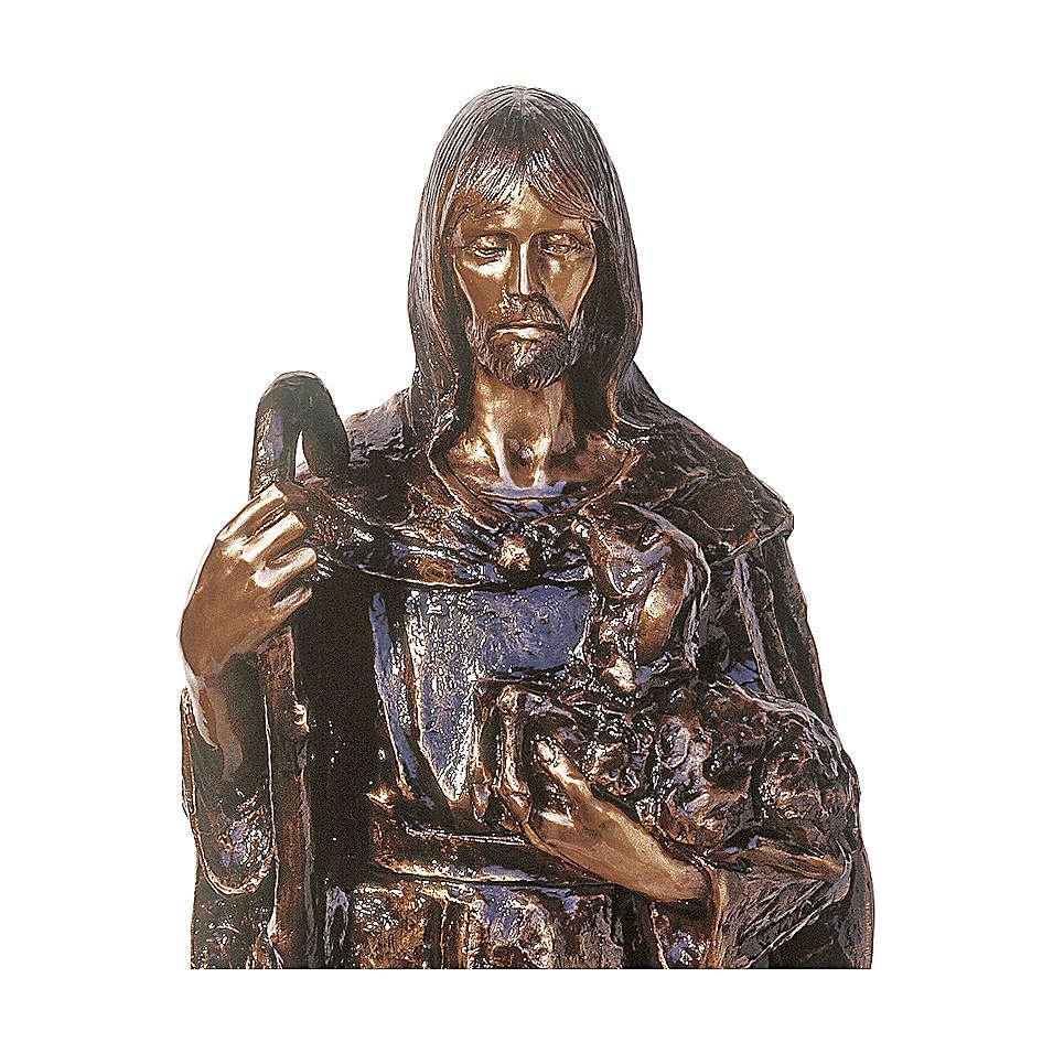 Statua Gesù Buon Pastore bronzo 130 cm per ESTERNO 4