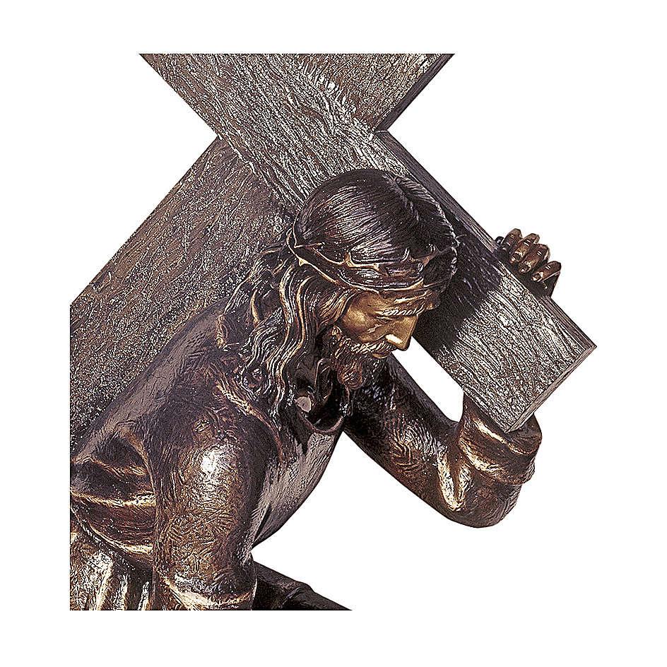 Jesus Carrying Cross Bronze Statue 140 cm for OUTDOORS 4