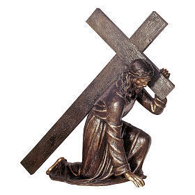 Jesus Carrying Cross Bronze Statue 140 cm for OUTDOORS s1
