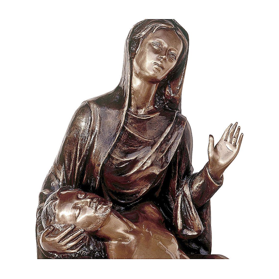Statua funeraria Pietà in bronzo 55 cm per ESTERNO 4