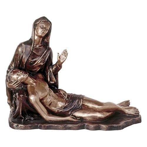 Statua funeraria Pietà in bronzo 55 cm per ESTERNO 1