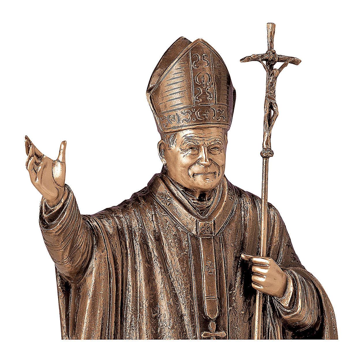 Estatua Papa Wojtyla bronce 75 cm para EXTERIOR 4