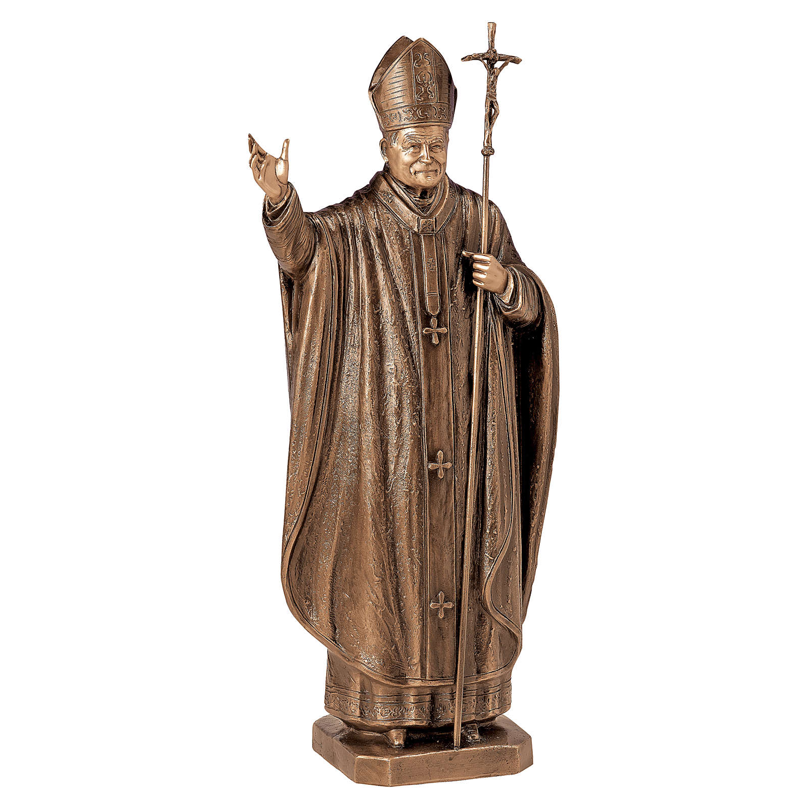 Statua Papa Wojtyla bronzo 75 cm per ESTERNO 4