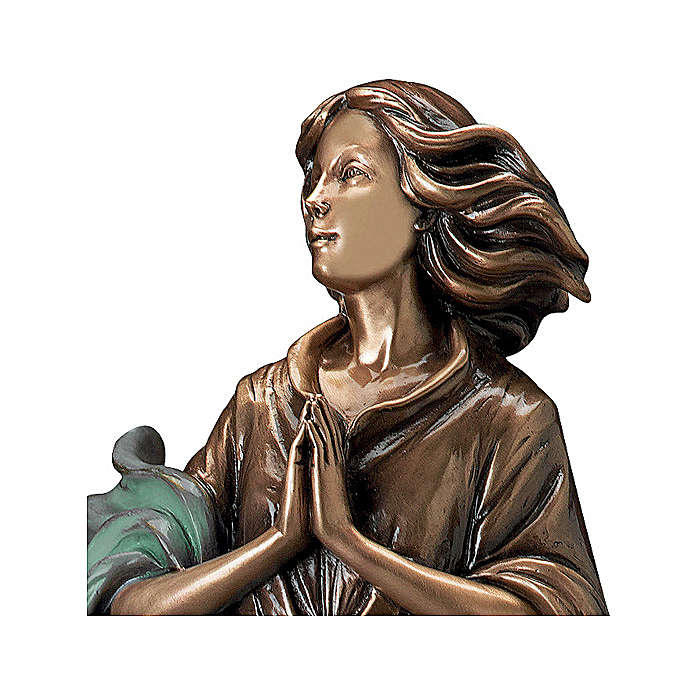 Bronze statue of woman with joined hands and green cloth 60 cm for EXTERNAL USE 4