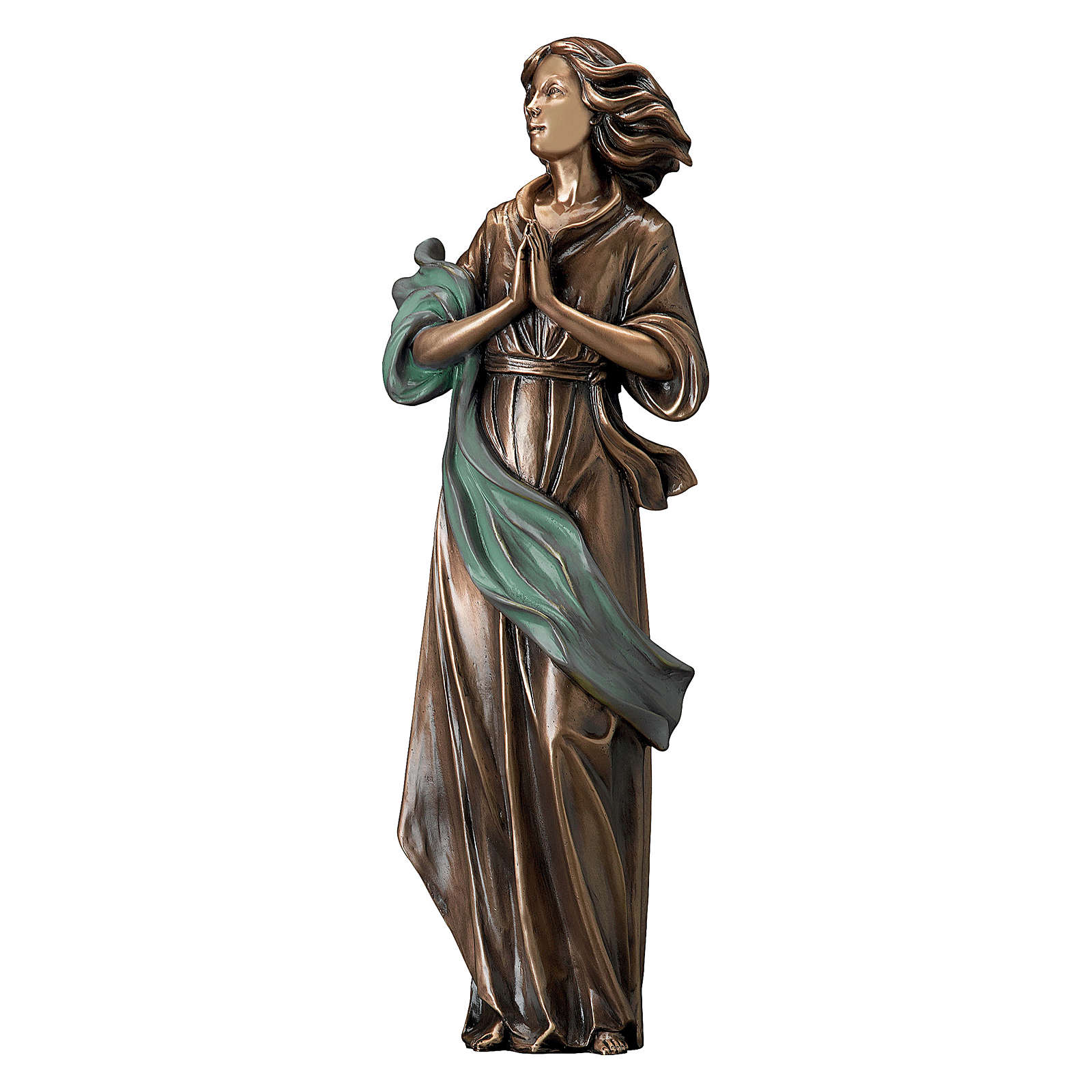 Bronze Statue of Woman with Hands Together with Green Drape 60 cm for OUTDOORS 4