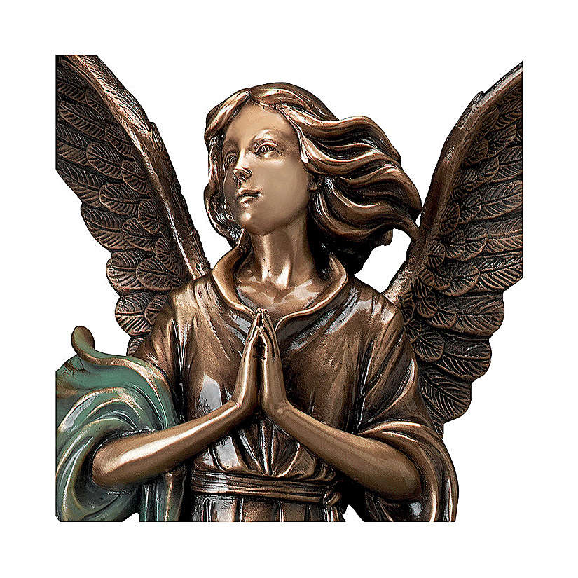 Statue of Guardian Angel in bronze 65 cm with green cloth for EXTERNAL USE 4