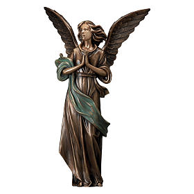 Statue of Guardian Angel in bronze 65 cm with green cloth for EXTERNAL USE s1