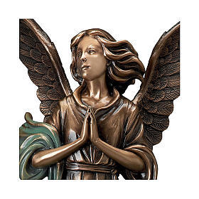 Statue of Guardian Angel in bronze 65 cm with green cloth for EXTERNAL USE s2