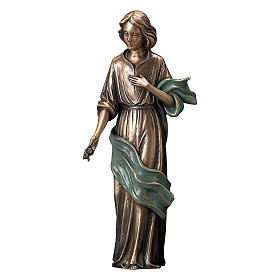 Bronze Statue Young Woman With Flowers in Hand with Green Scarf 40 cm for OUTDOORS s1