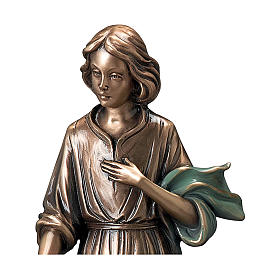 Bronze Statue Young Woman With Flowers in Hand with Green Scarf 40 cm for OUTDOORS s2