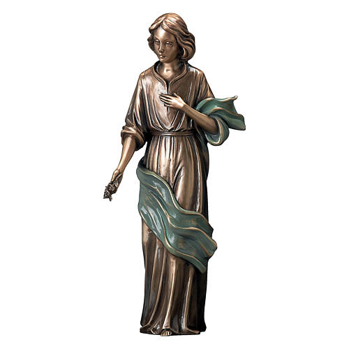 Bronze Statue Young Woman With Flowers in Hand with Green Scarf 40 cm for OUTDOORS 1