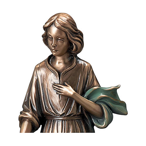 Bronze Statue Young Woman With Flowers in Hand with Green Scarf 40 cm for OUTDOORS 2