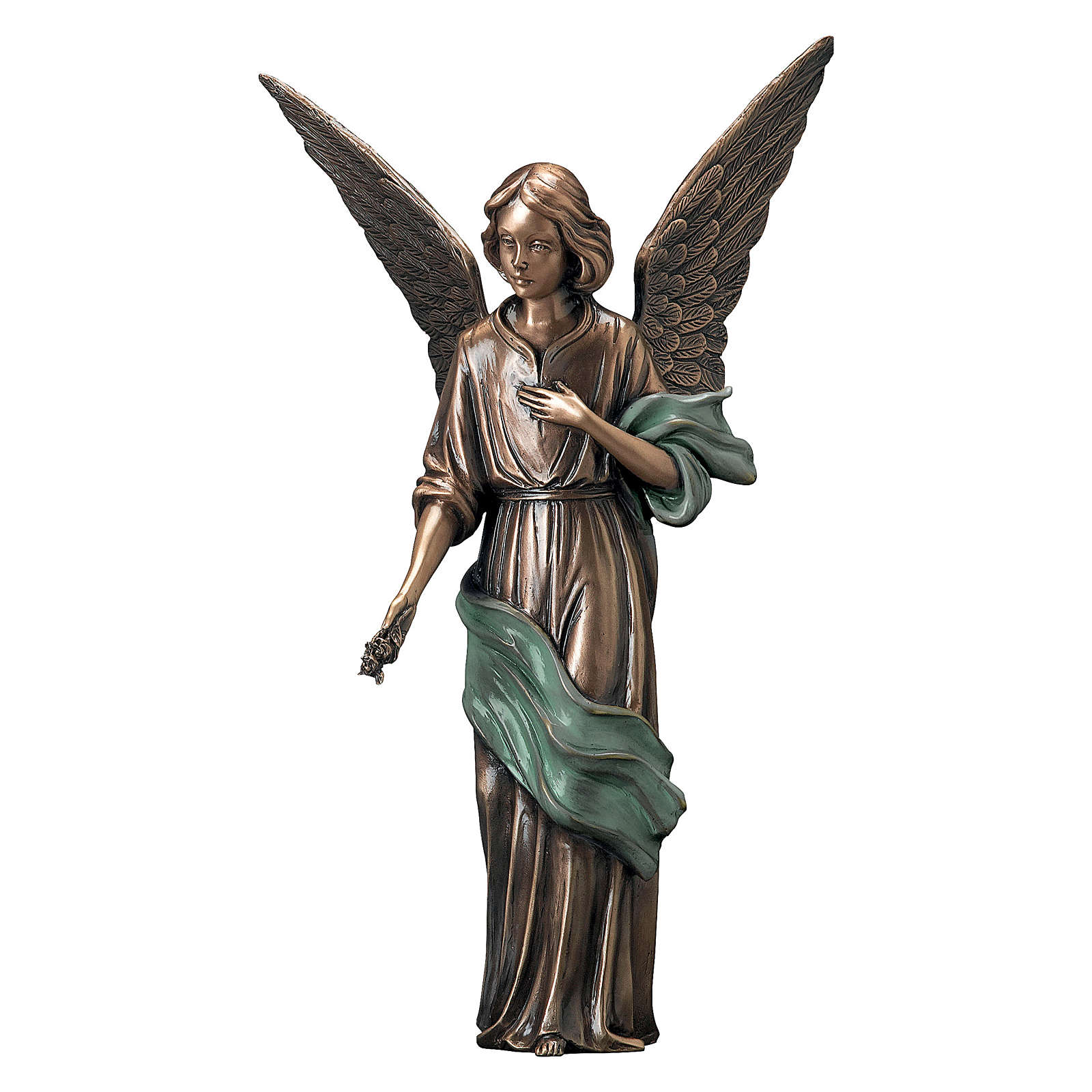 Statue of Angel scattering flowers in bronze 45 cm with green cloth for EXTERNAL USE 4