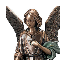 Statue of Angel scattering flowers in bronze 45 cm with green cloth for EXTERNAL USE s2