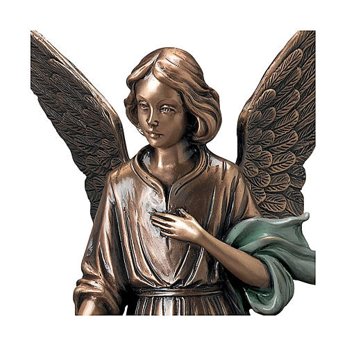 Statue of Angel scattering flowers in bronze 45 cm with green cloth for EXTERNAL USE 2