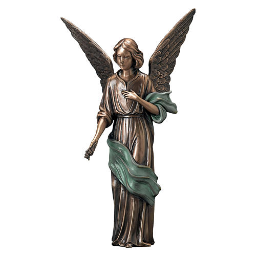 Girl Angel Funerary Statue in Bronze with Green Scarf 45 cm for OUTDOORS 1