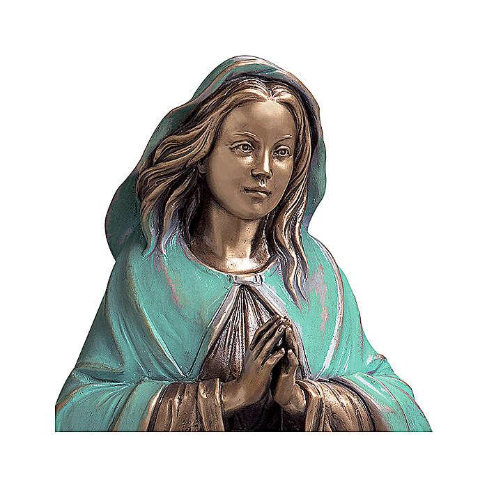 Statua Vergine Immacolata bronzo 65 cm manto verde per ESTERNO 4