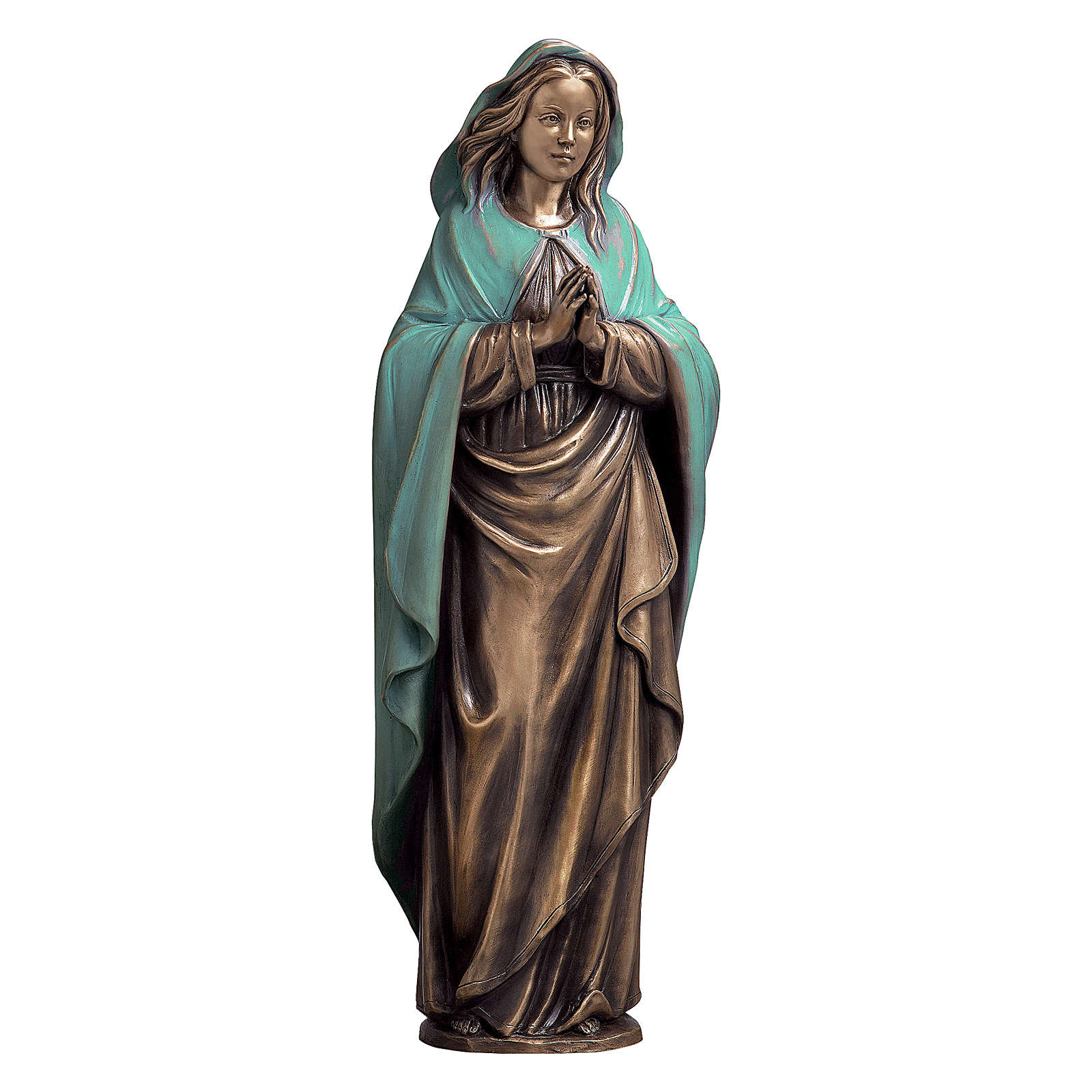 Immaculate Virgin Bronze Statue with Green Mantle 65 cm for OUTDOORS 4