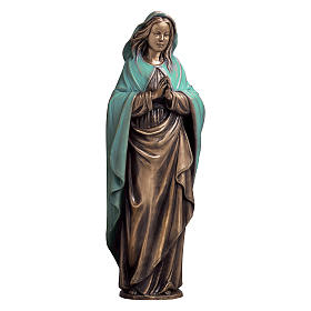 Immaculate Virgin Bronze Statue with Green Mantle 65 cm for OUTDOORS s1