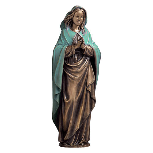 Immaculate Virgin Bronze Statue with Green Mantle 65 cm for OUTDOORS 1